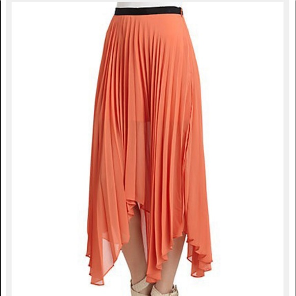 W118 Walter Baker Orange Mercedes Pleated Skirt C4